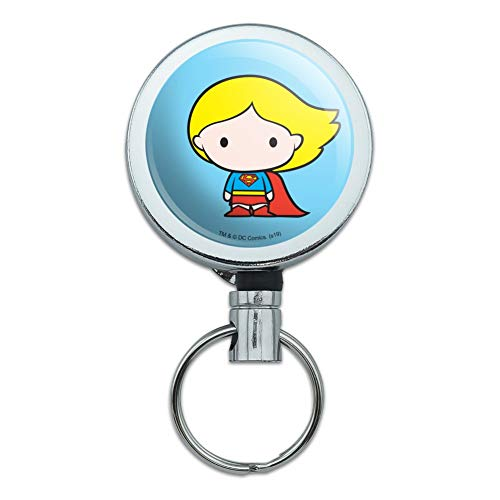 Superman Supergirl Cute Chibi Character Heavy Duty Metal Retractable Reel ID Badge Key Card Tag Holder with Belt Clip