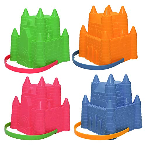 Holady 8 Inch Sand Castle Beach Bucket Toy Set,Sandcastle Mould, Sand Buckets Pails Beach Water Pool Gardening Bath Toy,Pack of 4 Colourful Stackable Castle Pails for Kids
