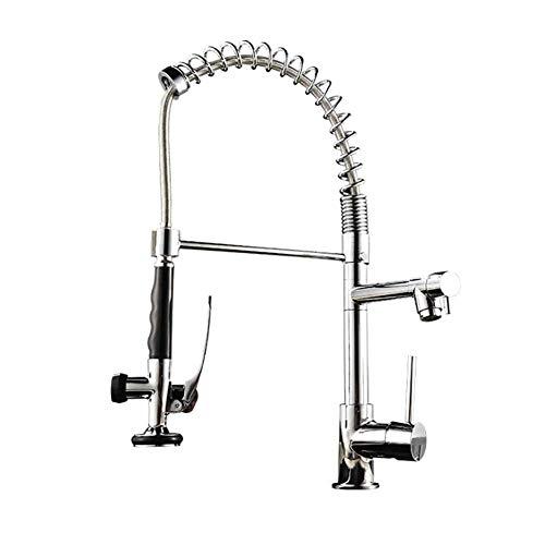 LQH Moderne Küchenarmatur Pull-Down-Sprayer, Edelstahl Einhand-Küche-Wannen-Hahn, Nickel gebürstet