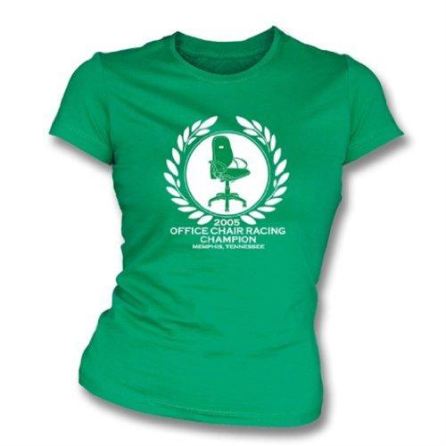 TshirtGrill Camiseta del Slimfit de Las Muchachas del campeón Que compite con de la Silla de la Oficina X-Grande, Color Kelly Green