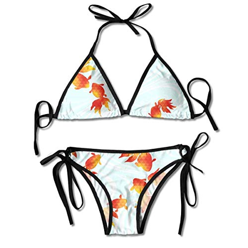 Frauen Red Goldfish Pattern Bikini Set Schnürung Verstellbare Zweiteilige Badeanzüge Sexy Badeanzug