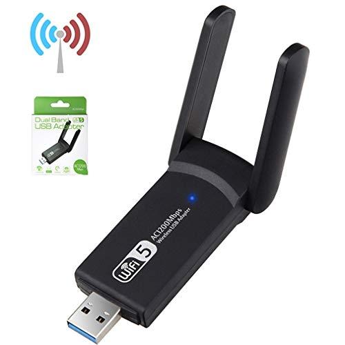 Kinshops 1200M Drive Free USB Wireless Network Card Gigabit Dual Frequency 5g Desktop Laptop Computer WiFi Receiver