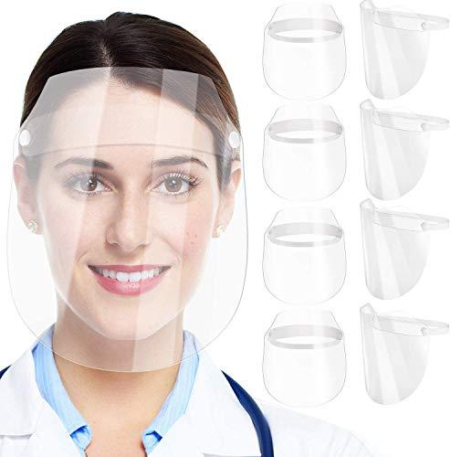 COWINN Face Shield - Pantalla de protección facial para cocinar, doble cara, antivaho, antiaceite, antisalpicaduras, transparente, visera de protección facial, protección ocular, 5 unidades