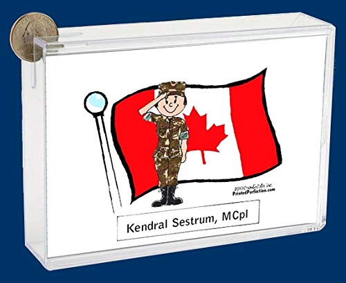 Personalized Friendly Folks Cartoon Caricature Bank: Canadian Military – Female