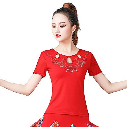 LNIGHT 社交ダンス トップス シンプル フラダンス tシャツ レディース ベリーダンス衣装 ラテンダンス 練習着 ダンスウェア ブラウス(レッド,2XL)