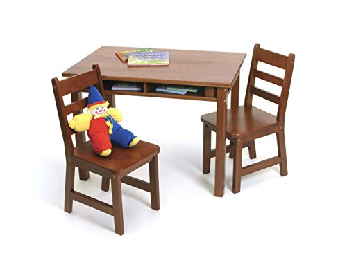 Lipper International Child's Rectangular Table with Shelves and 2 Chairs, Cherry Finish