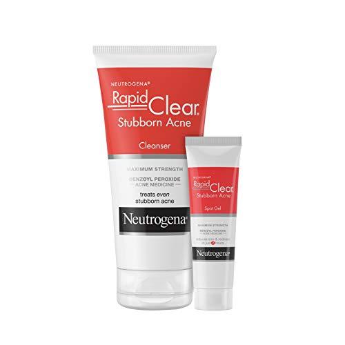 Neutrogena Rapid Clear Stubborn Acne Face Wash with 10% Benzoyl Peroxide Acne Medicine, 5 fl. oz & Rapid Clear Stubborn Acne Spot Treatment Gel with 10% Benzoyl Peroxide, 1 oz