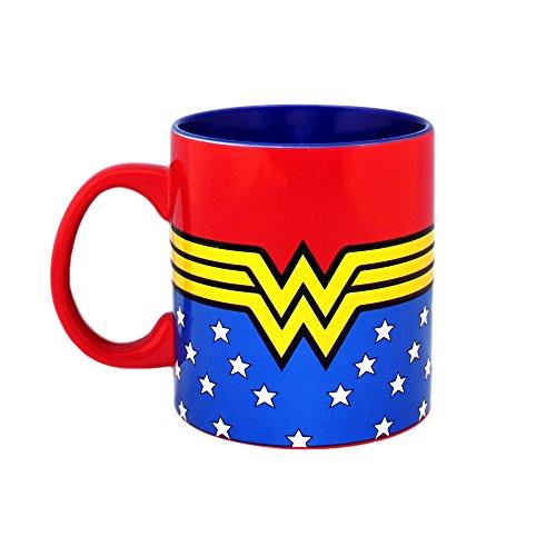 Silver Buffalo DC Comics Wonder Woman Logo Wrap Around with Stars Jumbo Ceramic, 20-Ounces Mug, 1 Count (Pack of 1), Multicolor