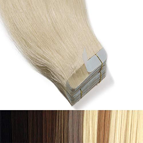 55cm Tape in Extensions Echthaar Remy Human Hair Haarverdichtung Haarverlängerung glatt 50g 20 stück X 4cm #60 platinblond