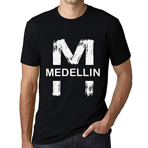 One in the City Hombre Camiseta Vintage T-Shirt Gráfico Letter M Countries and Cities Medellin Negro Profundo