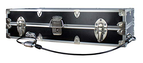 C&N Footlockers College Dorm Room Under Bed - The Slim Lockable Trunk - 32 x 18 x 8.25 Inches (With Cable Lock)