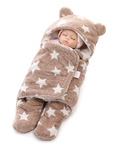 Minetom Neugeborenes Baby Gestrickt Wickeln Swaddle Decke Schlafsack Für 0-12 Monat Baby (White) Khaki L (78 * 86cm)
