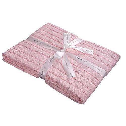 NTBAY Coperta per Neonato in Maglia di Cotone, Coperta per Bambini Multicolore Morbida e Accogliente, 76x102 cm, Baby Pink