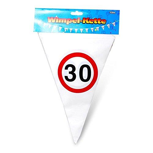 Wimpelgirlande 30 - 10m lang - DEKO zum 30. Geburtstag - Kunststoffwimpel bedruckt mit Verkehrsschild Zahl 30