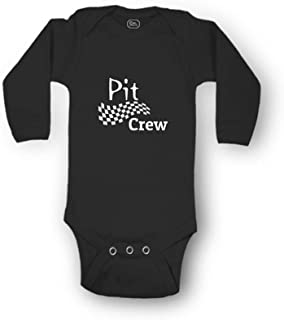 Pit Crew Envelope Neck Boys-Girls Long Sleeve Cotton Baby Bodysuit One Piece