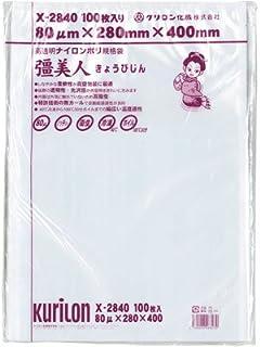 真空袋 彊美人 [X-2840] [厚80μ] [100枚入] (バラ出荷対応) [高強度五層/三方規格袋] [ナイロンポリ袋]
