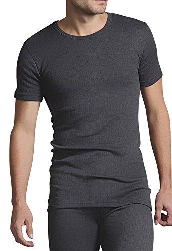 HEAT HOLDERS - Herren 0.45 tog Winter warm Baumwolle Thermo unterwäsche Kurzarm unterhemd (XL Brust 112-118cm, Kohlegrau)
