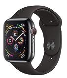 Apple Watch Series 4 44mm (GPS + Cellular) - Cassa In Acciaio Inossidabile Color Grigio Siderale Con Nero Cinturino Sport (Ricondizionato)