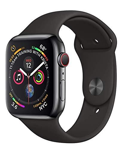 Apple Watch Series 4 44mm (GPS + Cellular) - Edelstahlgehäuse Space Grau Schwarz Sportarmband (Generalüberholt)