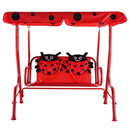Heaven Tvcz Kids Patio Swing Chair Children Porch Bench Canopy 2 Person (Red)
