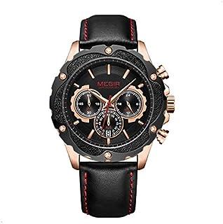 ميجير ساعة يد رجالية انالوج بعقارب ، جلد ،ML2070GRE-BK-1N0