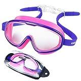 aegend Gafas de natación para niños (Edades 6-12), Gafas de natación antiempañantes sin Fugas para niños jóvenes, Silicona Segura, 100% de protección UV, Lentes inastillables, visión más Amplia