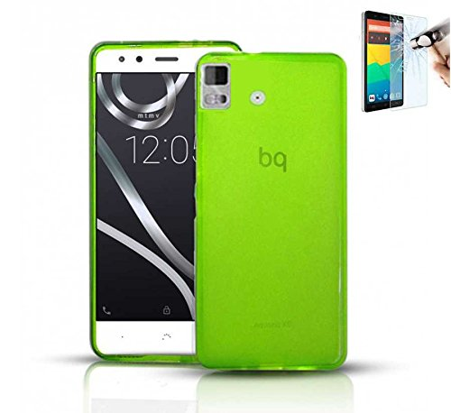 Todobarato24h Funda TPU Lisa Compatible con BQ AQUARIS E5S E5 4G Verde + Protector DE Cristal Templado