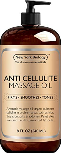 New York Biology Anti Cellulite Treatment Massage Oil - All Natural Ingredients – Infused with Essential Oils - Penetrates Skin and Targets Unwanted Fat Tissues - 8 oz