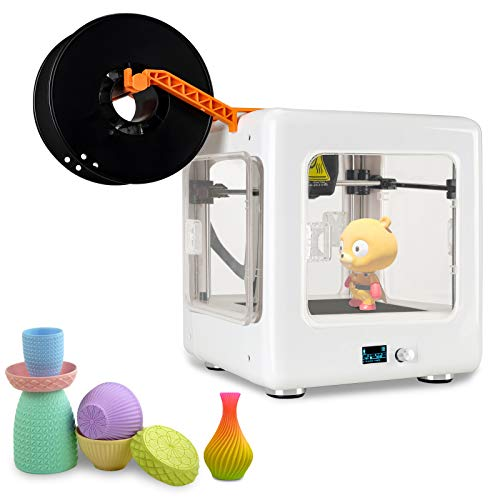Mini 3D Printer for Beginners, Priting Size 100 * 100 * 100mm, Composite Material with Visible Window, Lower Noisy, Print DIY, Gifts, Crafts, Building Models