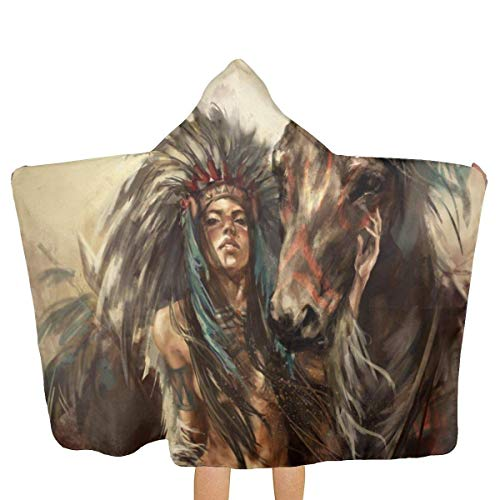 ADGoods Serviettes à Capuchon pour Les Enfants Native American Super Absorbent & Soft Shower and Beach Toddler Hooded Towel for Baby Kids 31.8x51.5 inch