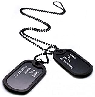Military Army Style Black 2 Dog Tags Chain Mens Pendant Necklace