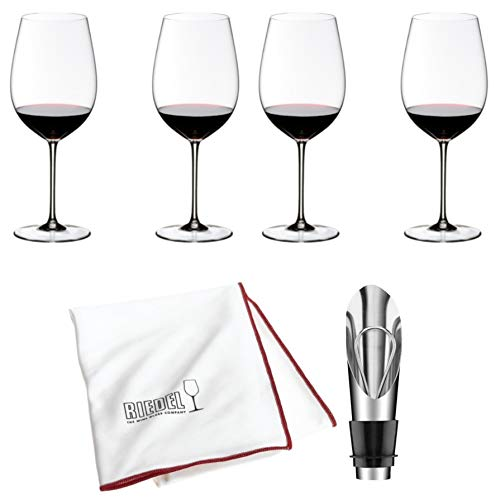 Riedel Sommeliers Bordeaux Grand Cru Wine Glass, Set of 4 Includes Wine Pourer with Stopper and Riedel Polishing Cloth