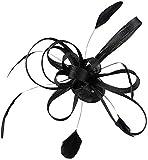 Inzopo Tocado de plumas para boda, accesorio para el pelo, color negro