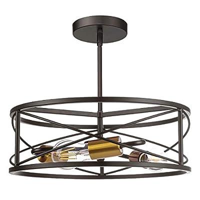 Semi Flush Mount Ceiling Light, JAZAVA 3-Light Vintage Metal Close to Ceiling Light Fixtures, Hight Adjustable Pendant Light for Kitchen, Living Room, Bedroom, Black