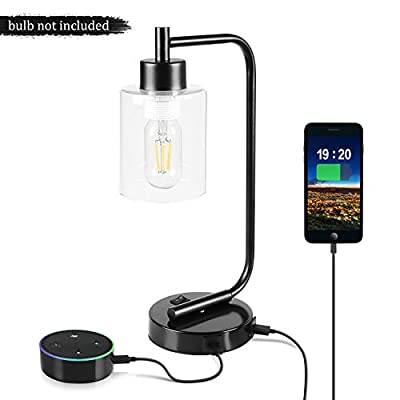 Dual USB Desk Lamp, Aooshine Industrial Style Table Lamp with USB Charging Ports, Iron Nightstand Lamp, Suitable for Bedroom, Dining-Room, Living Room