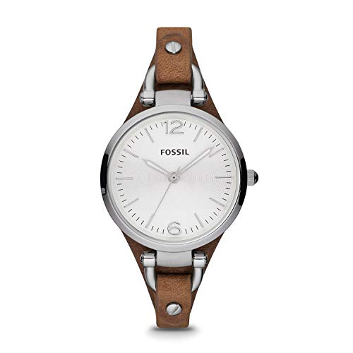 Fossil Women's Georgia Quartz Leather Three-Hand Watch, Color: Silver, Brown (Model: ES3060)
