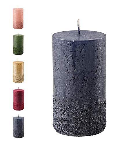 Wunderschöne & Moderne Adventskerzen – 2 Stück - Rustikale Oberfläche - Kerzen/Stumpenkerzen - Weihnachten/Weihnachtskranz/Adventskranz (Schwarz, Höhe: 11cm)