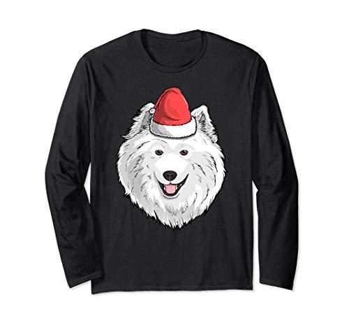 Samoyed Dog Santa Claus Hat Christmas X-Mas Holiday Gift Long Sleeve T-Shirt