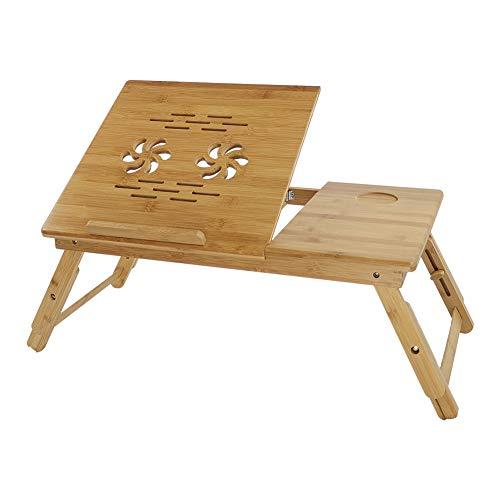 KKTTONER Mesa de escritorio para ordenador portátil con Patas ajustable y plegable de Bandeja de Cama Desayuno Color natural