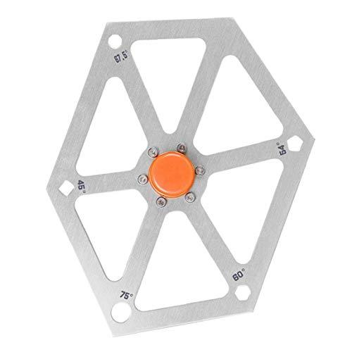 Uayasily Saw Gauge Visor de ángulo Regla múltiples ángulos Transportador de aleación de Aluminio Hexagonal de la carpintería Herramienta de medición de Plata