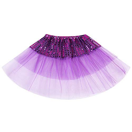 LUKALI Jupe Tutu Fille Enfant Princesse BéBé FêTe Costume Beau PlisséE Paillettes Petti Skirt Bowknot Danse Performance Robe Dress Tulle Chic Dancewear Ballet LéGer Multicolore 2-7 Ans(Violet)