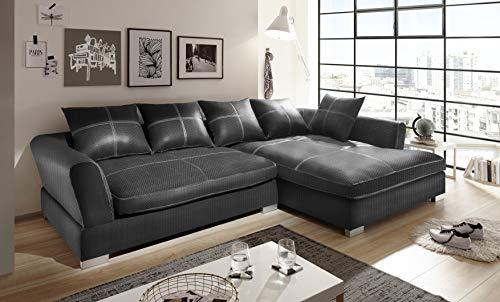 Reboz Big Sofa Hoekbank geweven stof in verschillende kleuren en uitvoeringen Hoek. Rechts grijs/antraciet