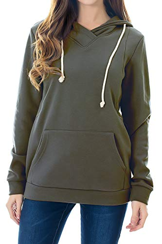 Smallshow Women's Fleece Maternity Nursing Sweatshirt Hoodie Army Green Medium