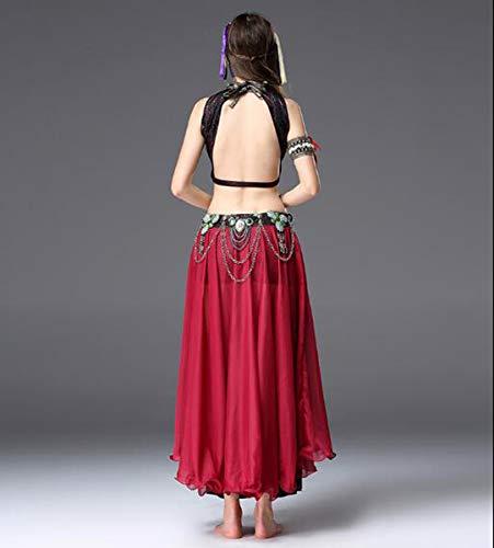 NANXCYR Gonna di Danza del Ventre Femminile Costume Tribale Boemo Gonna di Chiffon di Seta di Ghiaccio Abito di Bollywood Vestito da Ballo di Halloween Abiti da Ballo di lode,Rosso,S
