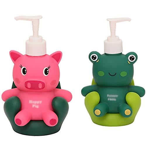 SKK Lotionsflasche Seifenspender Resin Nette Tierform Seifenflasche, die for die Dekoration Shampoo Fillable Duschgel verwendet Werden kann, Pumpflasche (Color : Green+Pink)