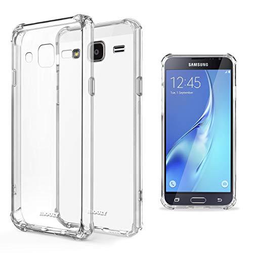 Moozy Cover Silicone Trasparente per Samsung J3 2016 - Custodia Antiurto, Crystal Clear Case, TPU Morbido