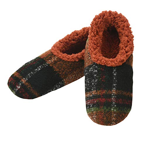 Snoozies Mens Slippers - Slippers for Men - House Slippers for Men - Men's Slippers - Mens House Slippers - Plaids of Bold - Rust - Large