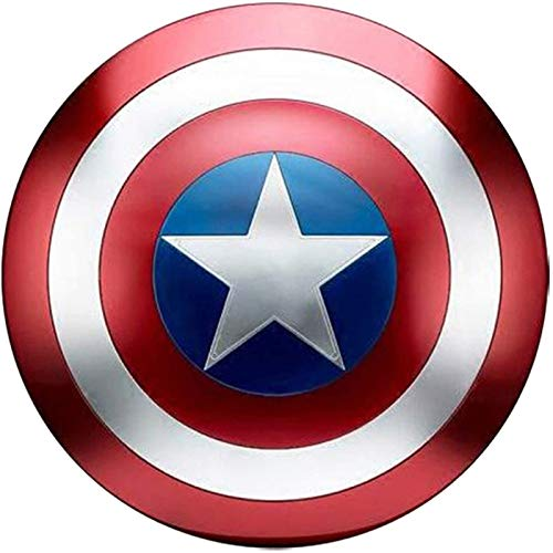 Captain America Shield Full Metal Adult Legends Series Replica Marvel Props, Accesorios para disfraces de Halloween Cosplay Props Bar Shield Decoraciones para colgar en la pared
