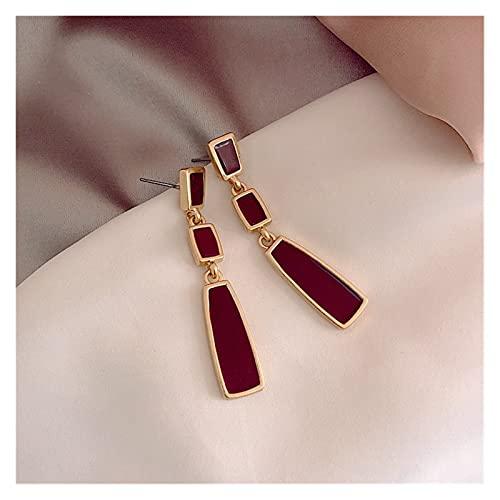 Pendientes elegante Golden Geométrico cuadrado rojo retro diseño largo romántico Exquisito temperamento Pendientes (Metal Color : 1)