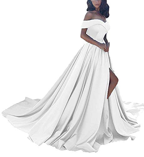 Scarisee Women's A-line Off Shoulder Prom Evening Dresses with High Split Formal Long Wedding Party Gowns White 14